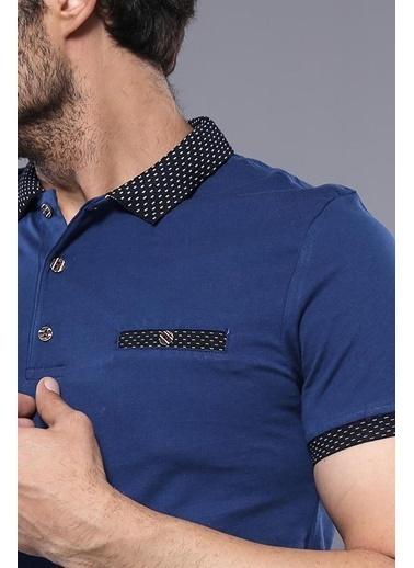 Wessi Erkek Polo Yaka Slim Fit Düz Tişört Mavi